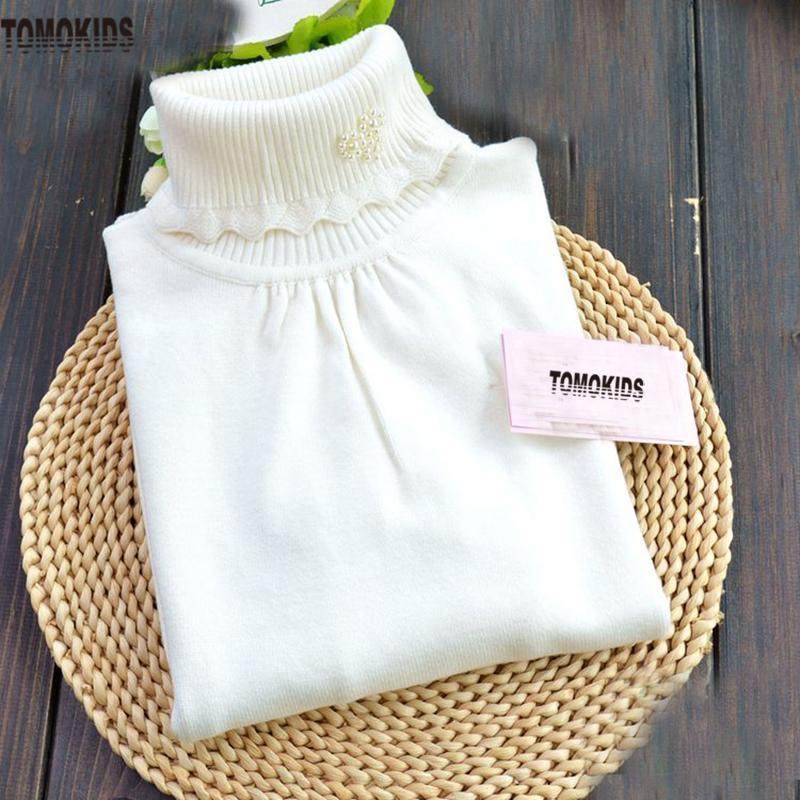Tomokids Girls\' Beads Sweater Baby Turtleneck Cotton Knitted Sweater ...