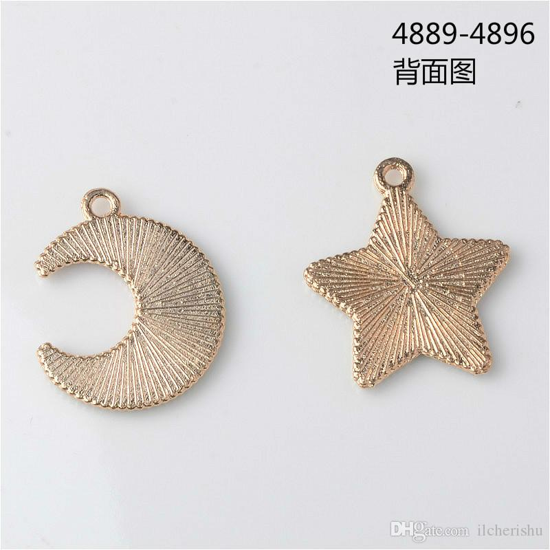 New japonês e coreano esmalte liga pingente estrela lua encantos para brincos jóias fazendo balançar boutique trinket bijoux moda diy