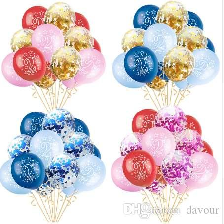 Baby 2nd Birthday Latex Balloons Confetti Inflatable Air For Boy Girl 2 Years Old Happy Party Decor Delivered