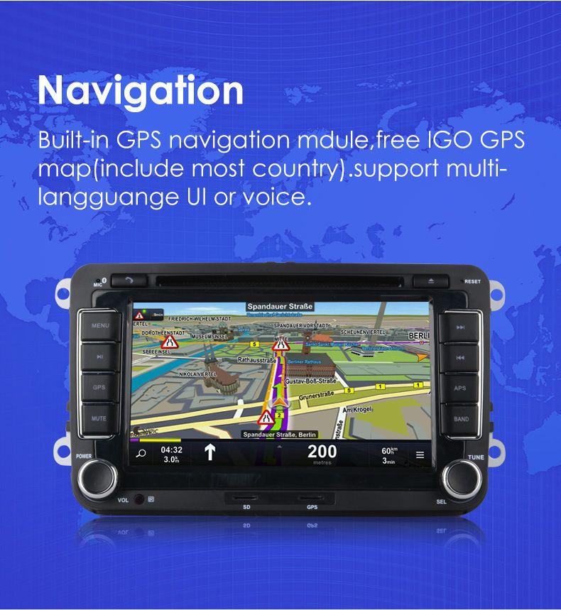 7 pulgadas 2 Din Car DVD GPS navegación Radio Stereo Player para Volkswagen VW Golf 6 Touran Passat B7 Sharan Touran Polo Tiguan