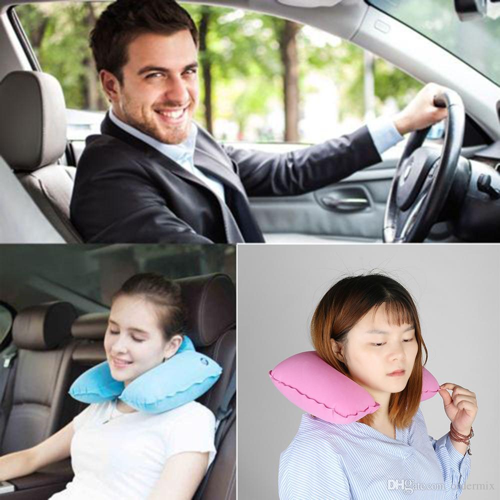 범용 자동차 소프트 풍선 여행 베개 새로운 휴대용 목 휴식 U 형 목 휴지 에어 쿠션 도매