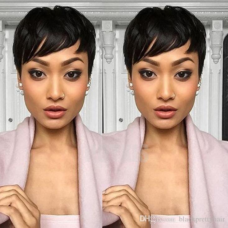 Hotkis Black Women Human Hair Short Hairstyle Wigs Pixie Short Cut