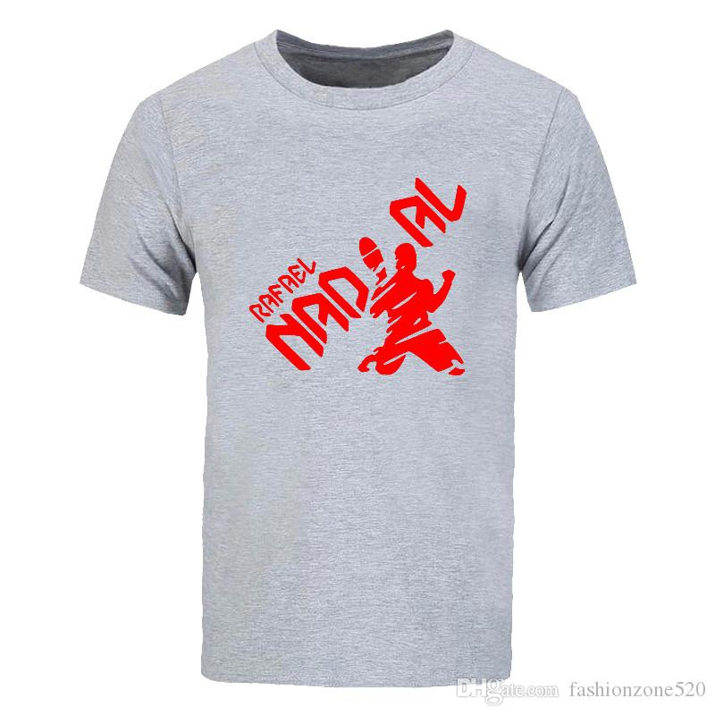 Yeni yenilik Yaz moda Pamuk Rahat Kısa Kollu Büyük Metre T Gömlek Erkekler Rafael Nadal Natto baskılı T-shirt ekip boyun Tops Tees DIY-0789D