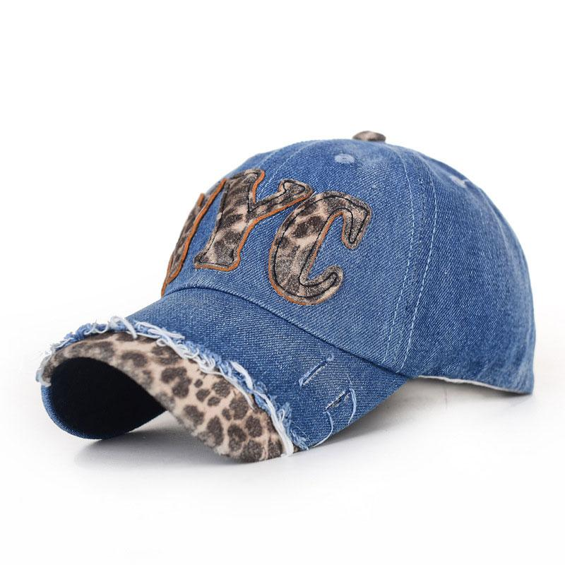 211f520f591 Fashion Leopard Words Pattern Stitch Design Blue Denim Hats ...