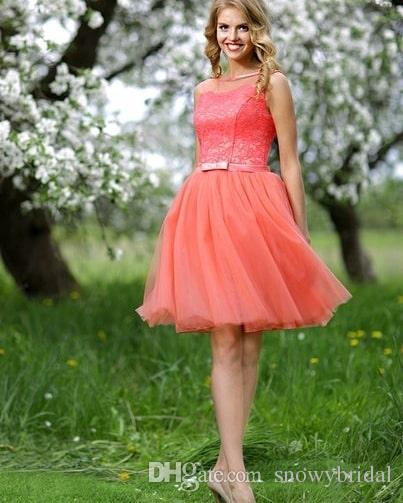 Vestidos de graduacion cortos color coral