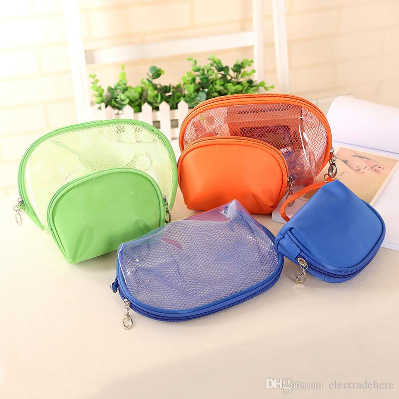 d0349cebfffc 2Pcs/set Waterproof Transparent Women Makeup cosmetic Bag PVC travel  organizer bag zipper Make up bag Wash bags