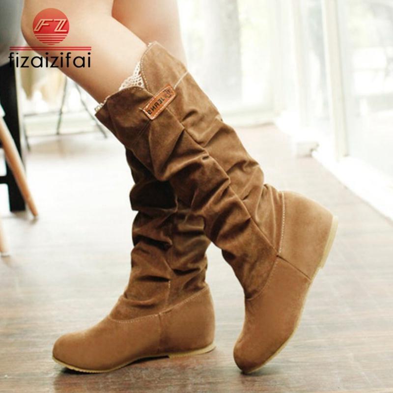 new product 60876 9550d FizaiZifai Größe 35-43 Frauen Stiefel Flache Ferse Winter Knie Stiefel  Damen Schuhe Mode Runde Kappe Lange Damen Schuhe