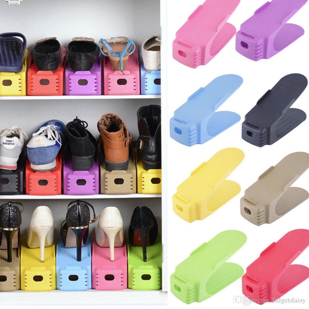 En gros Réglable À Domicile À Domicile Racks Moderne Double Nettoyage Chaussures De Stockage Rack Salon Salle Pratique Boîte À Chaussures Organisateur Stand Étagère
