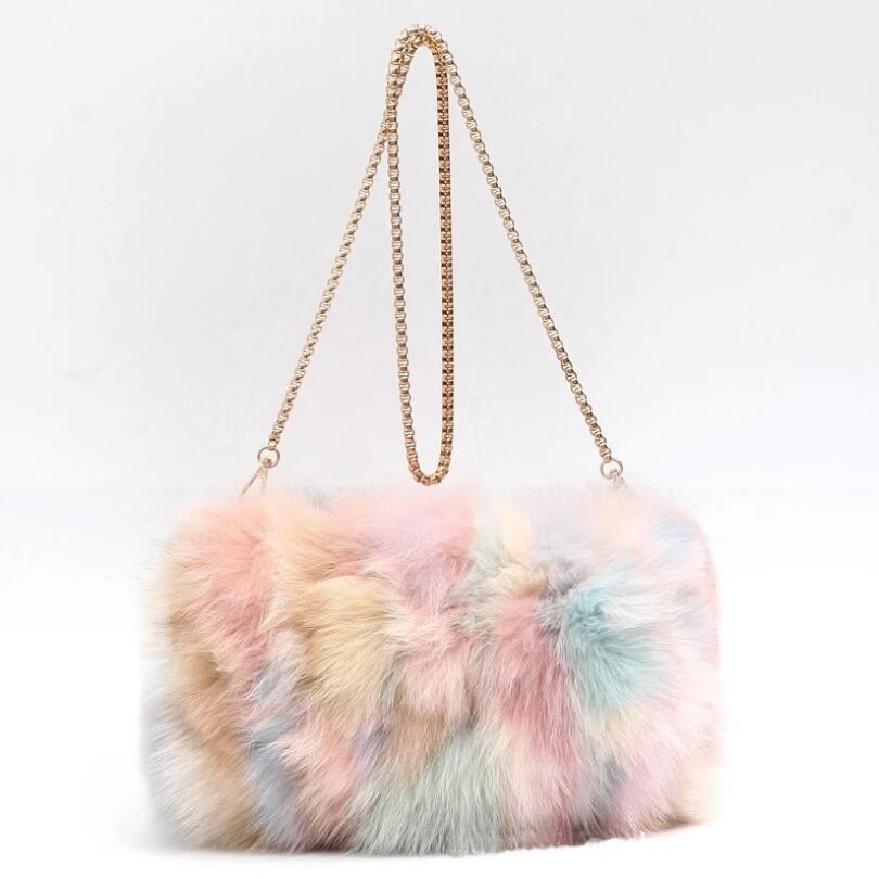 e282f088b48a Fashion Designer Real Fox Fur Women Messenger Bag Winter New Women Chain  Shoulder Bag Luxury Fur Handbag Large Lady Clutch Handbags Purses From  Faaa