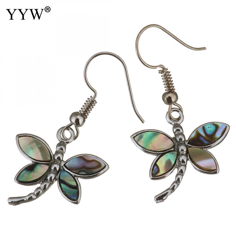 c14b7f623 Shell Dangle Earrings Brass with Abalone Shell Dragonfly Silver ...