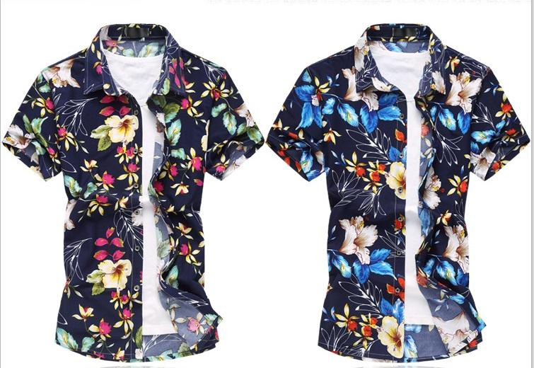 1459ebf0 2019 Floral Printed Men Shirts 2018 Summer Short Sleeve Leisure Fashion  Flowers Hawaiian Ice Silk Cotton Shirts Slim Fit Big Size 6XL From  H_shoppy, ...