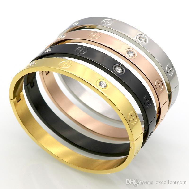 2018 6mm Trendy Couple Bracelet Cross Screw Gifts For Women Titanium