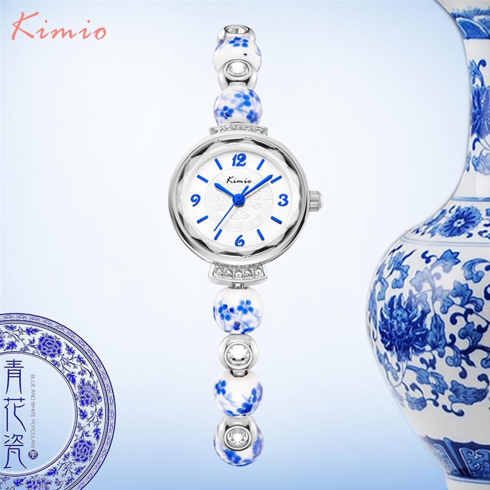 378c98c8381 Compre KIMIO Retro Realmente Chinês Relógio De Cerâmica Azul E Branco  Porcelana China Padrão Auspicioso Pulseiras Mulheres Relógios De Luxo Da  Marca ...