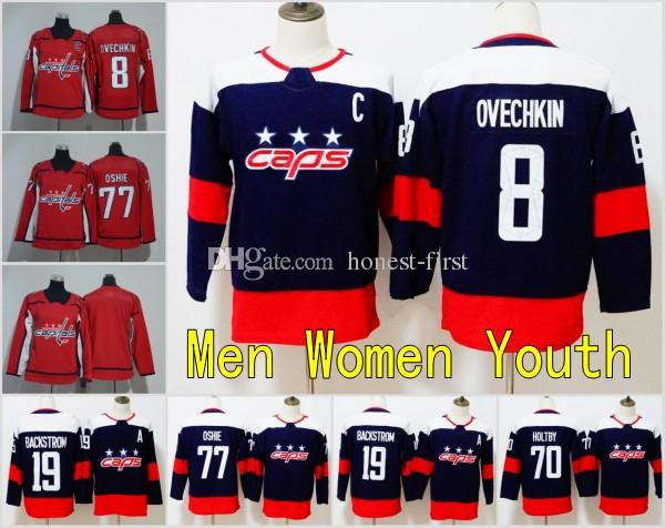 outlet store b2a89 a798c 2018 New Men Youth Womens Washington Capitals Jersey 8 Alex Ovechkin Jersey  77 TJ Oshie Hockey Jerseys Kids Womens Red Blank