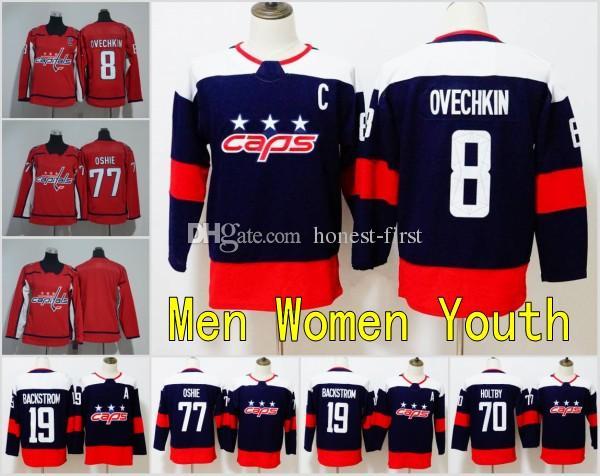 outlet store 0aea4 8f188 2018 New Men Youth Womens Washington Capitals Jersey 8 Alex Ovechkin Jersey  77 TJ Oshie Hockey Jerseys Kids Womens Red Blank