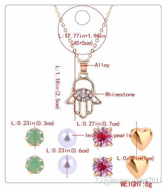 Fresh Necklaces Boucles D'oreilles Sets Filles / Dames Idée Cadeau Hamsa Main Charm Sets De Bijoux Chokers Stud Earrings