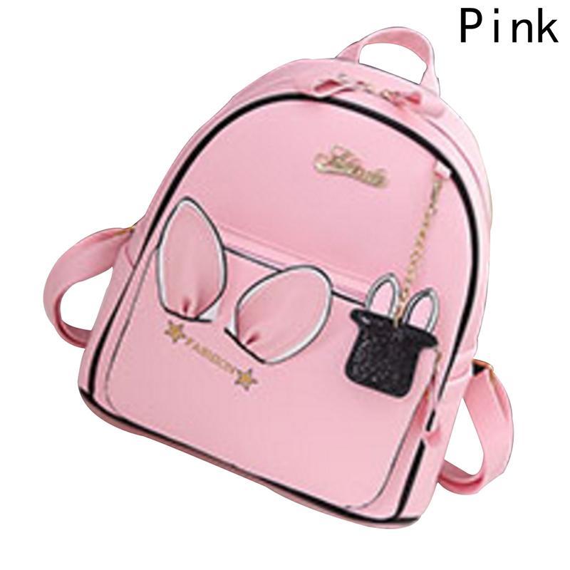 Cute Ears Backpack Women PU Leather BackpacFor Teenage Girls School Bags  Female Solid Korean Travel Rabbit Bag Three Colors Backpacks For School  Laptop ... c2ce627c9af26