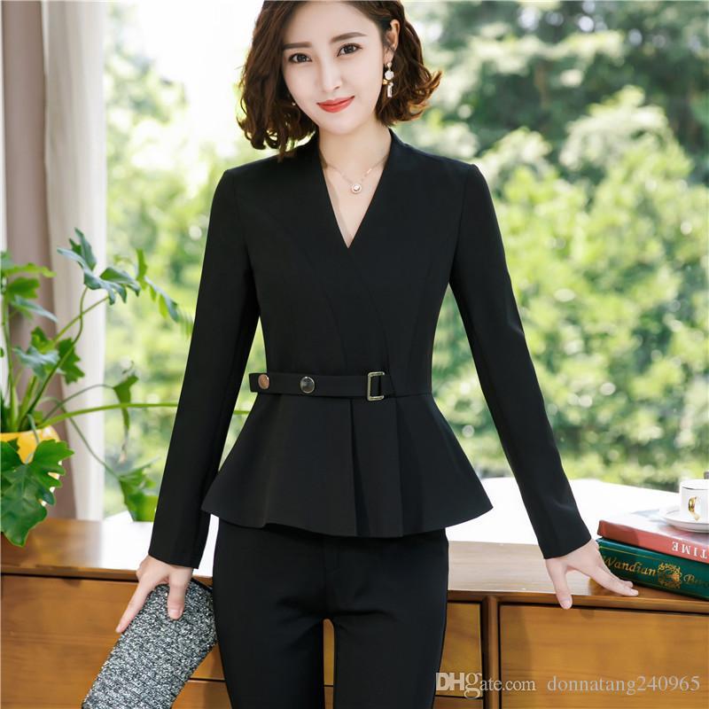 710d7df14406 Acheter 2019 Nouvelle Mode Femmes Pantalons Costumes Slim Travail Vêtements  Dames D affaires Manches Longues Blazer Pantalon Ensemble Costumes Pour Les  ...