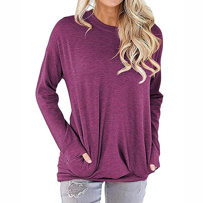 535ecb6308d New 2019 Solid O-Neck Tee Shirt Women Long Sleeve Casual Pockets Blouses  Female Plus Size Tops Femme Spring Loose Blouse GV328 Online with   42.06 Piece on ...