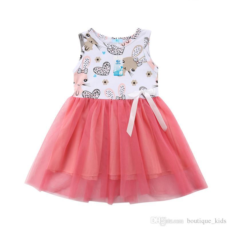 Großhandel Cute Baby Mädchen Kleider Kaninchen Druck Prinzessin ...