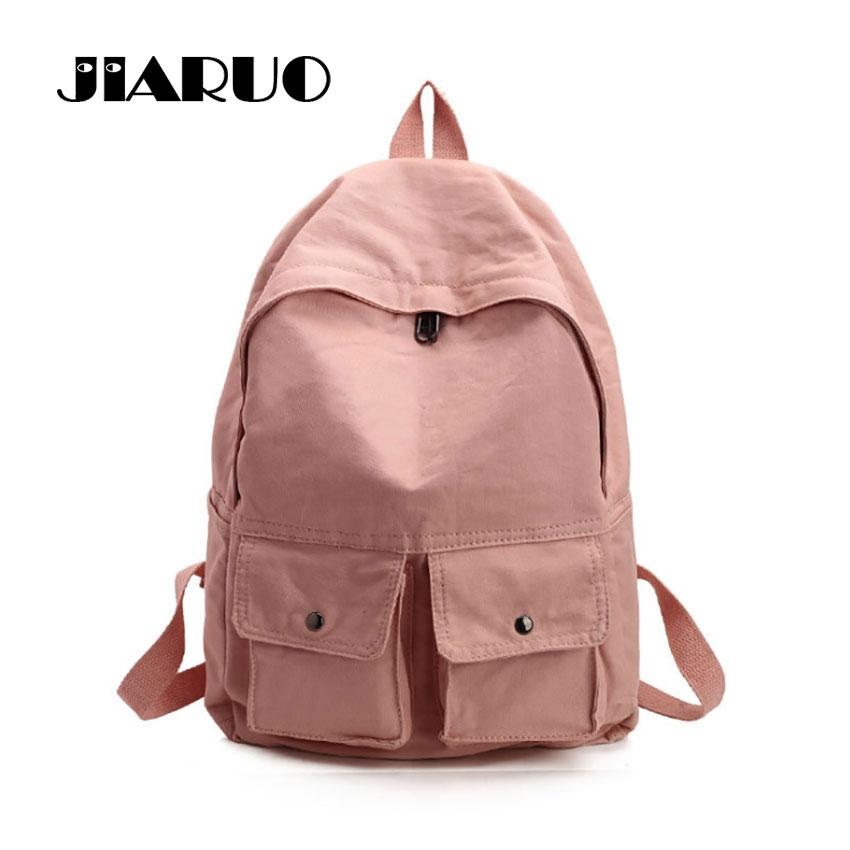 5b63885260be JIARUO Simple Double Pocket Design Canvas Women Backpack Casual Travel Back  Pack Rucksack For Student School Bag For Teenagers Mesh Backpack Justice ...