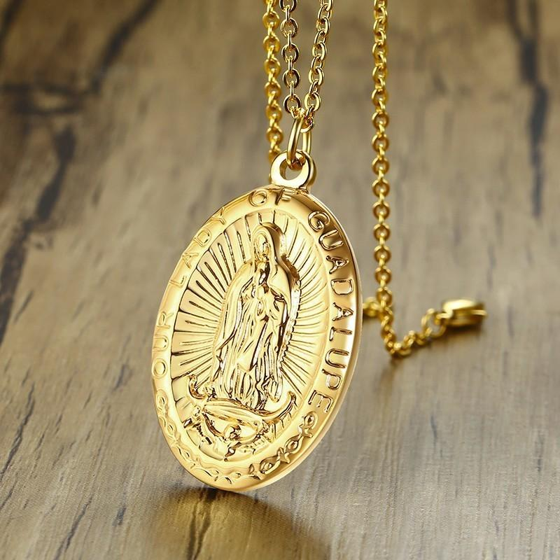 a32b6668fcb Men's Our Lady of Guadalupe Medal Pendant Necklace in Stainless Steel Gold  Tone Virgin Mary Patron Saint Medals Male Jewelry
