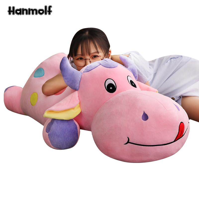 Colorful Cattle Plush Doll Stuffed Lying Cow Soft Animals Toy Green/Blue/Pink Huggable Kids Plushie Toy 50/70/85cm