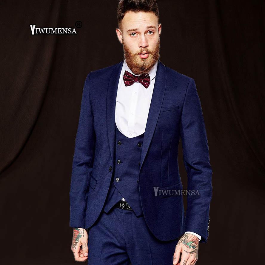 Yiwumensa Navy Blue Set Costume Homme Mariage Men Wedding Suits 2018 Slim  Fit Smoking Mens Tuxedo Traje Formal Hombre UK 2019 From Griseldala 5ae13ccddec