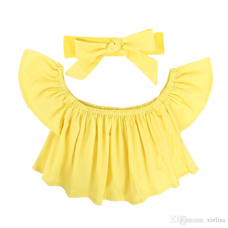 yellow top Kids girls set Baby Girl Off Shoulder pink T Shirt Tops Shorts Outfit children Clothes Sets 1-6y girl clothes