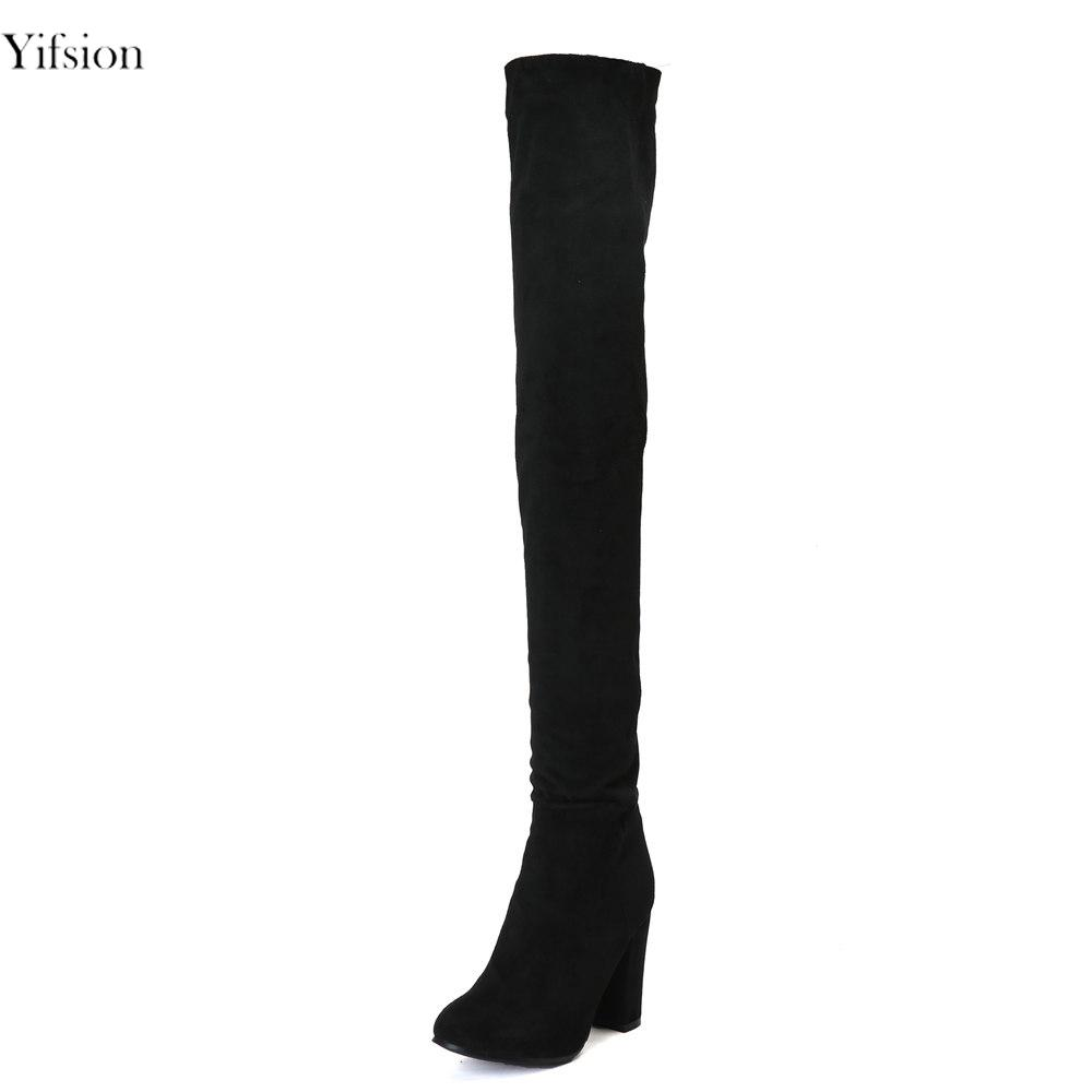 d4b1ebb6220 Yifsion New Women Winter Boots Over The Knee Boots Square High Heel ...