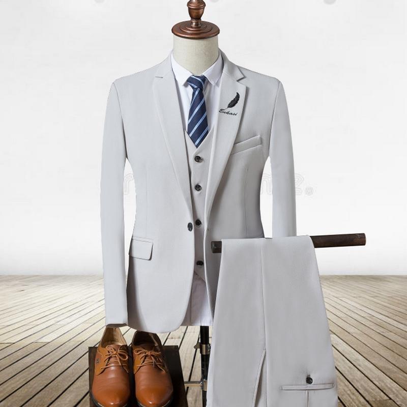 Compre 2017 Nuevos Trajes Para Hombre Blanco De Lujo Traje De Marca Hombres  Tuxedo Party Mens Vestido De Traje 3 Unidades De Boda Slim Fit Blazer  Conjunto ... e3bf6988f74d