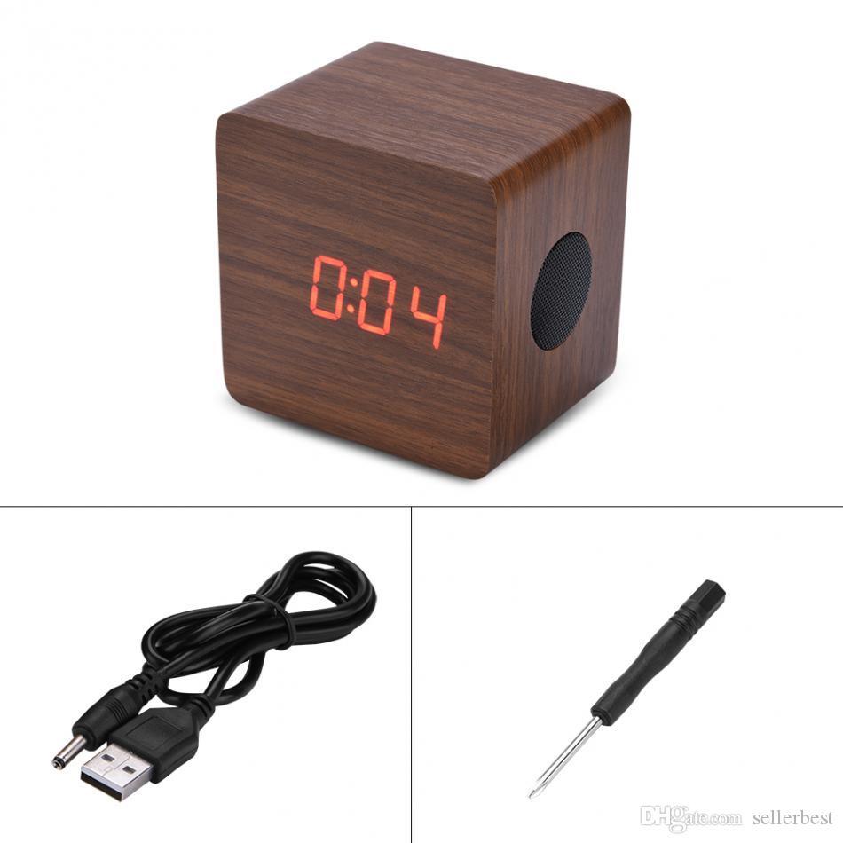 VBESTLIFE despertador de madera del altavoz bajo Bluetooth Reloj LED de alarma exhibición del termómetro 2 * 3W amplificador Potencia de salida Louderspeaker