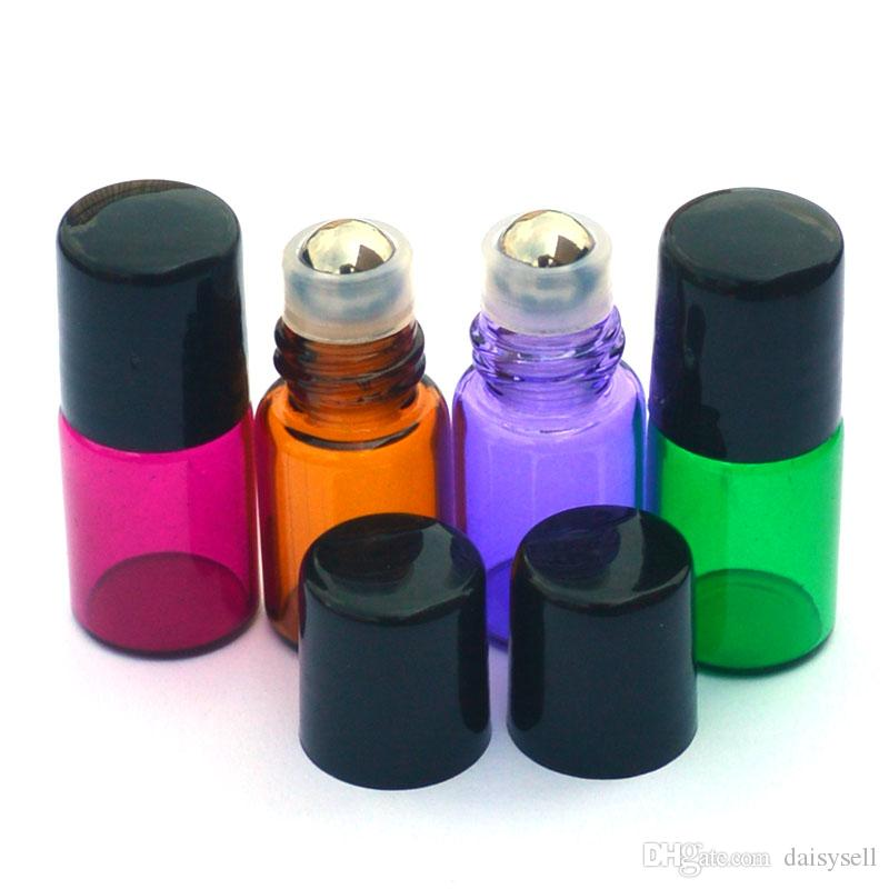 Empty 2ml roll on glass bottles Colorful Metal Roller Ball Bottle Perfume Sample Bottle Essential Oil 2ml Roller Bottle