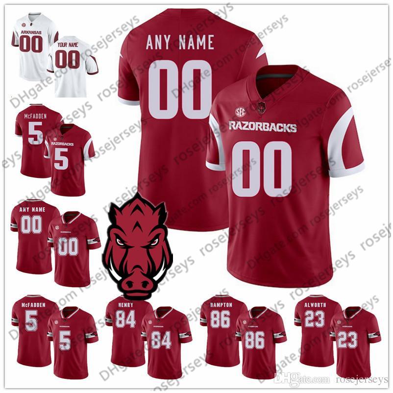 2018 Custom Arkansas Razorbacks College Football 2018 New Red White
