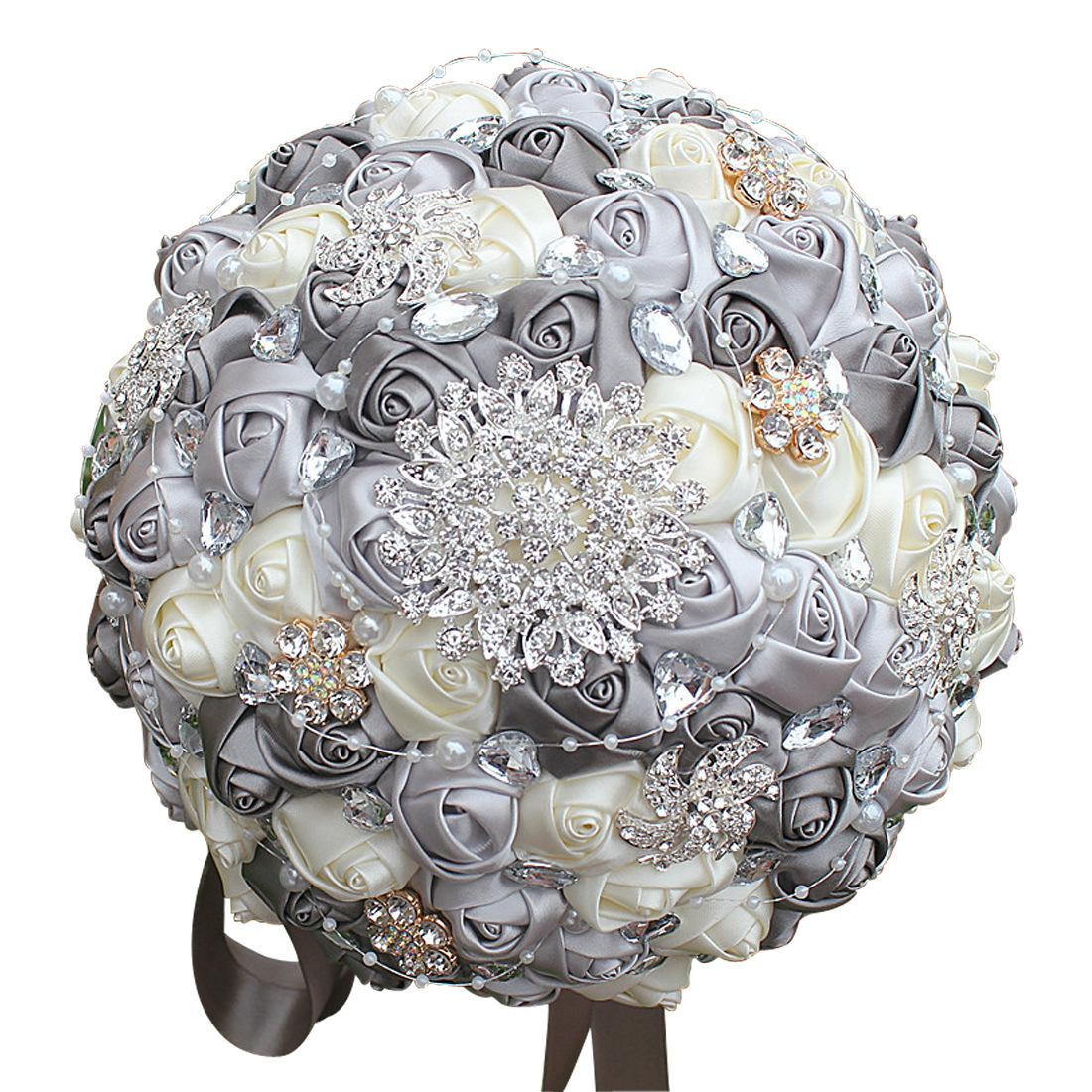 24cm Diamond Silk Ribbon Rhinestone Rose Artificial Flowers Bride ...