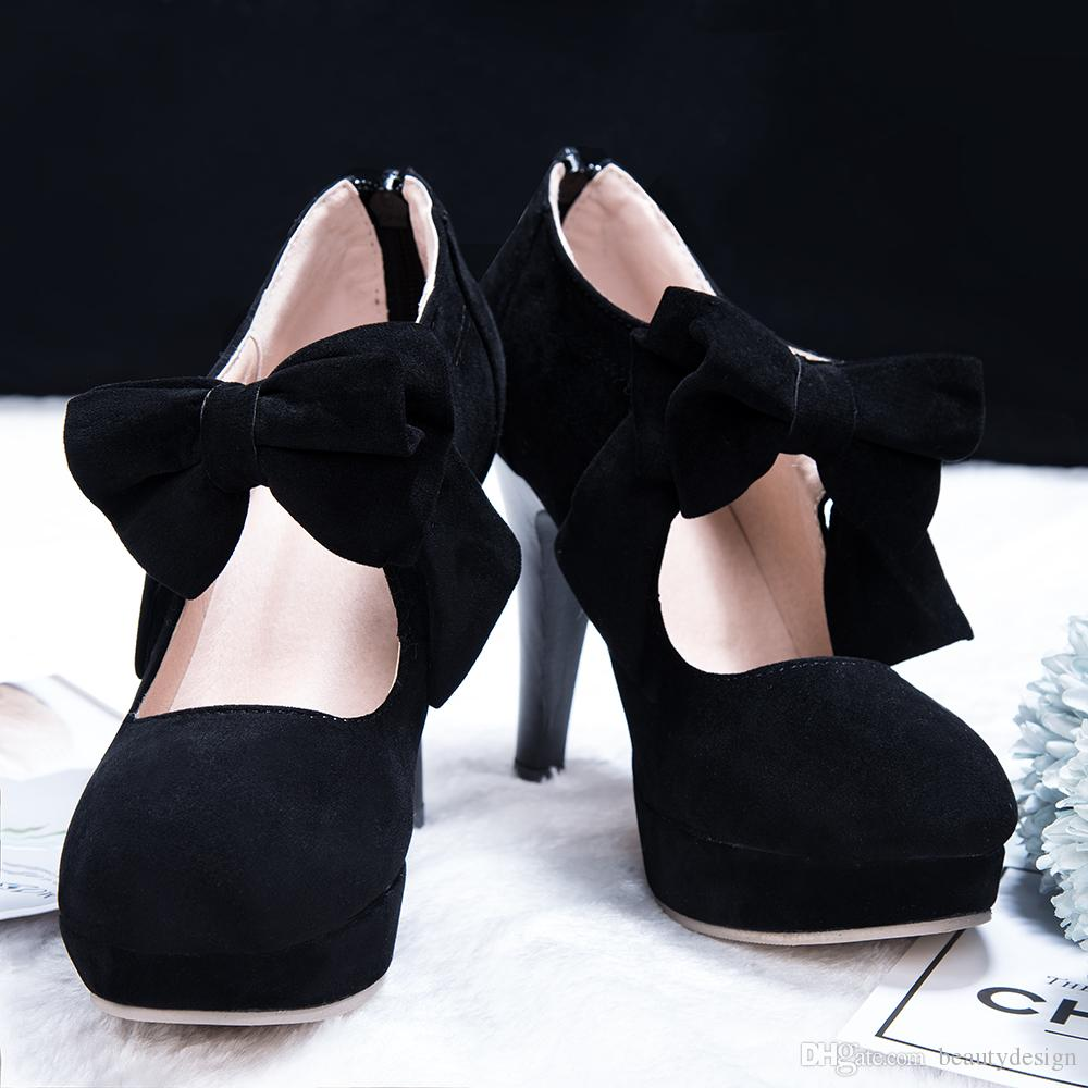 add5337602f 2019 Hot Selling New Black Round Toe Bowtie Hollow Stiletto Heel Wedding  Shoes High Quality Cheap Women s Boots CPA1113 Heel Pumps Party Shoes  Online with ...