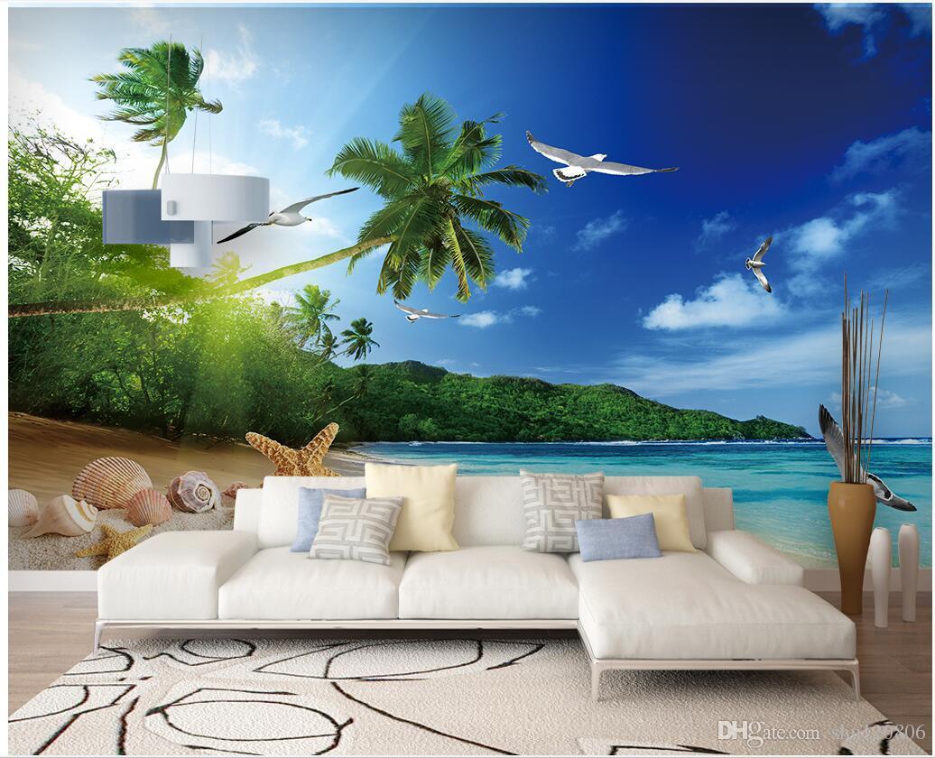 3d Room Wallpaper Cloth Custom Photo Seaside Scenery Beach