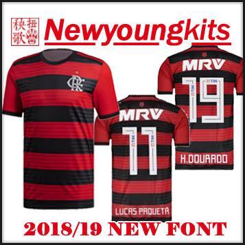 2019 2018 19 Flamengo Home Jersey Brasil Red Black Football Shirt 18 19 New  Font LUCAS PROUETA GUERRERO DIEGO VINICIUS H.DOURADO Soccer Shirt From ... 456294b9a
