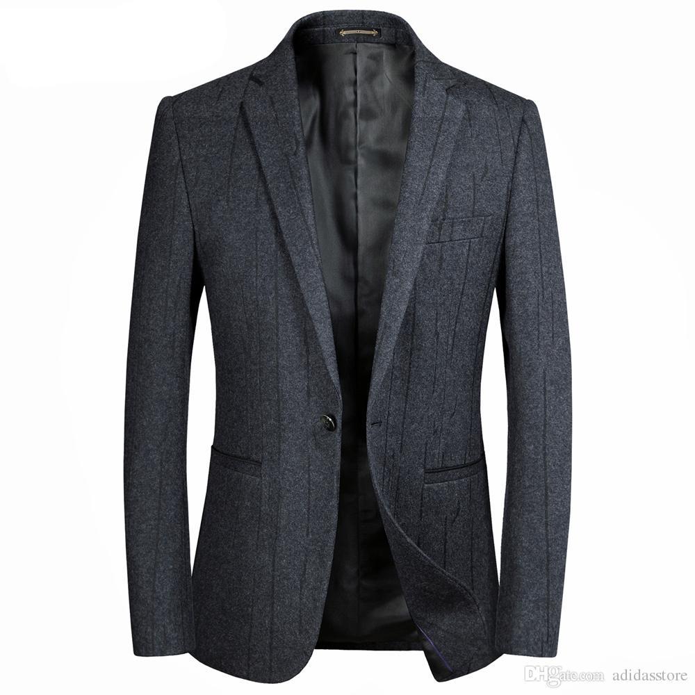 eb7b8bb30172d Compre Blazers De Rayas De Lana De Los Hombres De Moda Gris Elegante De Negocios  Informal Para Hombre Blazer Chaquetas Slim Fit Chaquetas De Traje De Ocio A  ...