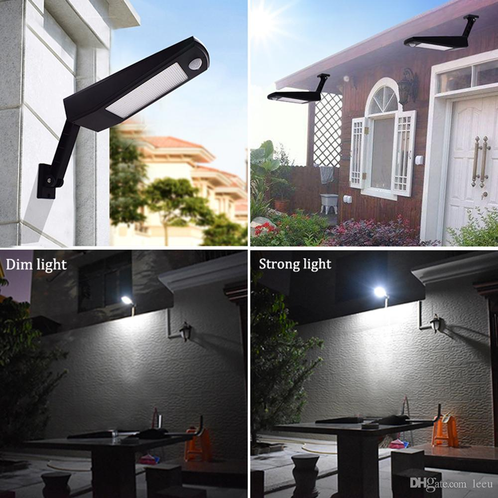 900lm Led Solar Light Outdoor Waterproof Lighting For Garden Wall 48 leds Four Modes Rotable Pole Solar Lamp Newest