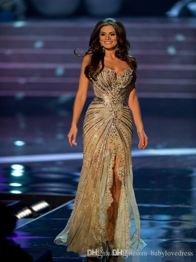 2019 Vestido Miss World Brazil Prom Dresses Crystal Beaded Lace Tulle Evening Gowns Formal Sheath Side Slit Mermaid Celebrity Dresses