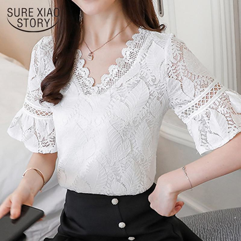 b5001d6624d New 2018 Summer Women Shirt Blouse Fashion Lace Women Clothing Short ...