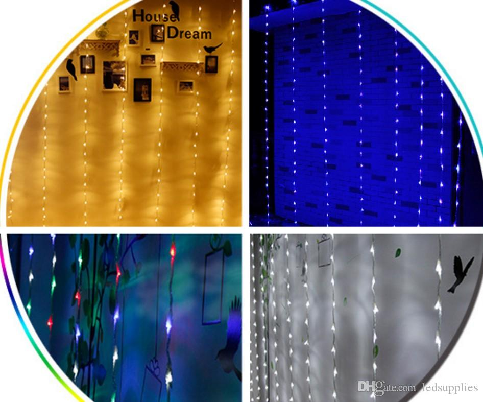ışıklar düğün çubuğu arka plan yılbaşı dekorasyonları 3M * 3M damla suluboya ışıkları perde şelale 320LED su ışıklar
