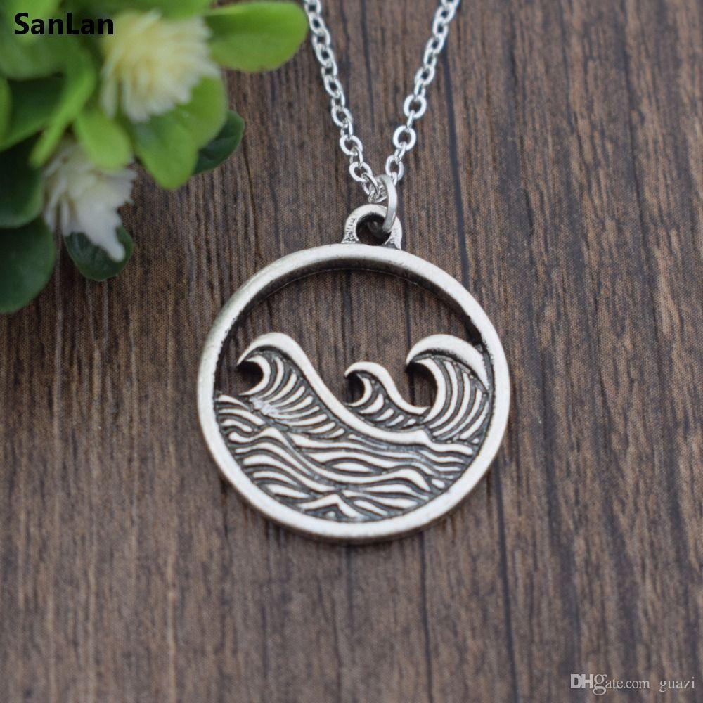 of necklace ocean wave silver pendant product image nauticalwheeler