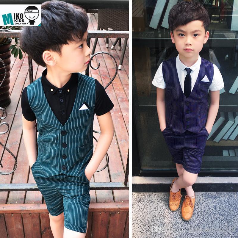 9c4950335 Compre Nuevo Traje De Bebé Chaleco + Camisa + Niño Corto Blazers Establece  Prendas De Vestir Para Niños 2 10T Ropa De Niño Conjunto 3 Piezas De Verano  Bebé ...