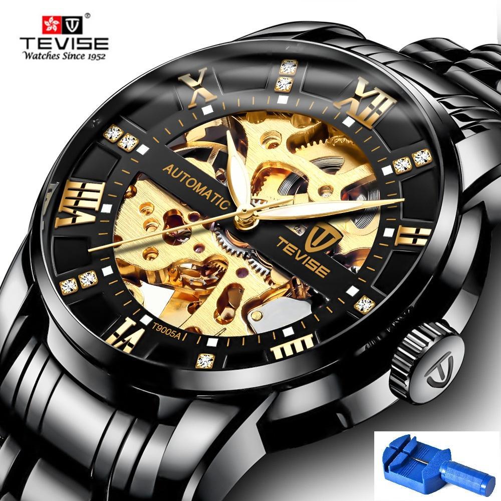 De Tevise Esqueleto Luminous Pulsera Clásico Scale Reloj Relojes Clock 2018 Diamond Hombre Automático T9005a Hands Mechanical Male nmN80w