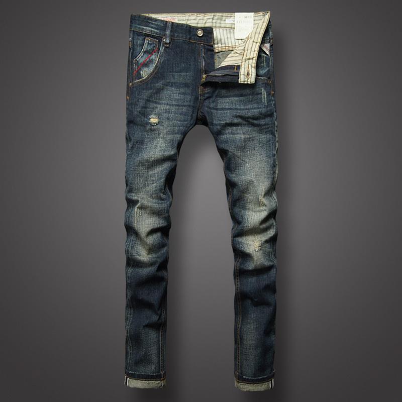Großhandel Italienische Vintage Designer Männer Jeans Klassische Mode Slim  Fit Denim Panst Dunkle Farbe Baumwolle Zerrissene Jeans Homme Marke Männer  Von ... 29f37d05b3
