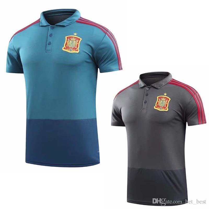 2019 Camisetas De Futbol ASENSIO MORATA Spain Polo Jerseys World Cup 2018  RAMOS INIESTA Training Polo Shirt Camisa Maillot De Foot From Bet best 687e13fa4
