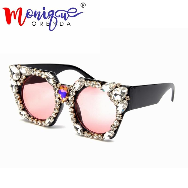 82a717e66c8 2018 Newest Oversized Square Sunglasses Women Luxury Brand Designer  Rhinestone Sun Glasses Female Vintage Shades Eyewear UV400 D18102305 Online  with ...