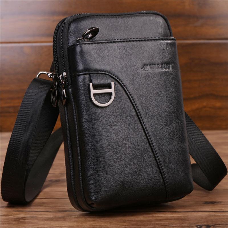 e698db3b096 Fashion Men's Crossbody Waist Bag Genuine Leather Cell Mobile Phone Case  Messenger Shoulder Bag Men Belt Fanny Hook Pack